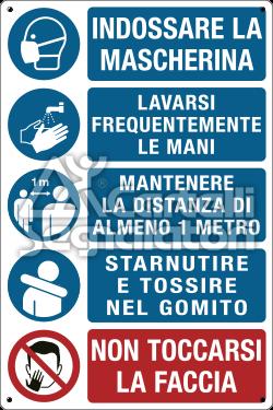 Multisimbolo: indossare la mascherina, lavarsi frequentemente le mani, mantenere la distanza di almeno 1 metro, starnutire e tossire nel gomito, non toccarsi la faccia - Coronavirus Covid-19