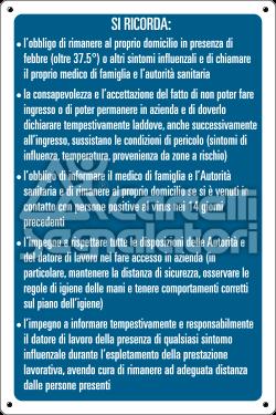 Elenco di norme e istruzioni da seguire (su fondo blu) - Coronavirus Covid-19
